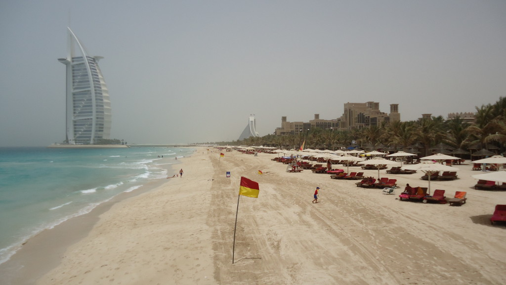 2 km beach in front of Mina A' Salam.  View of the Burj Al Arab in the background