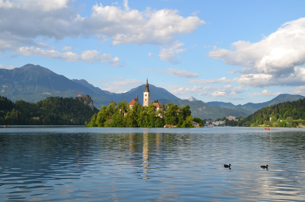 Pristine Lake Bled with Bled Caste in the middle