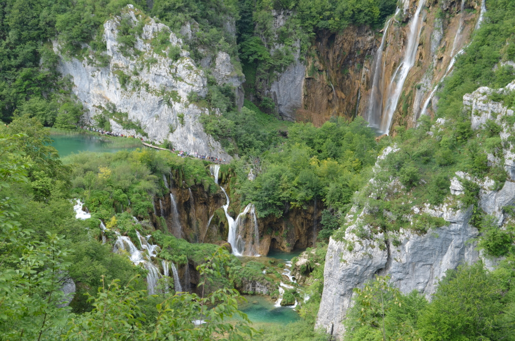 Largest waterfall in Plitvice Lakes near entrance 1