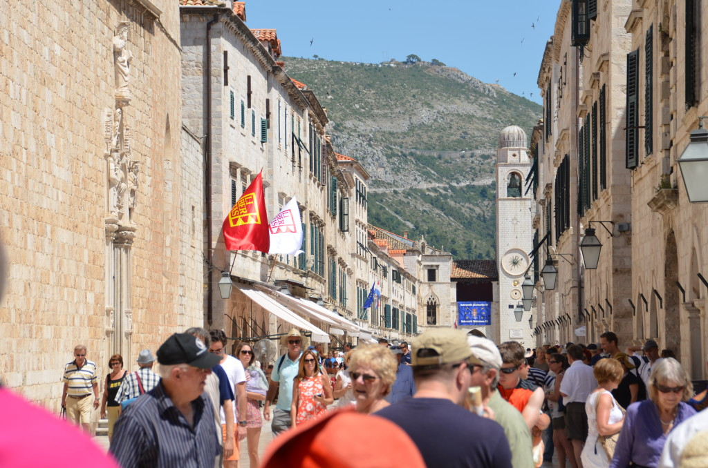 Bustling old town of Dubrovnik with many tourists during summer