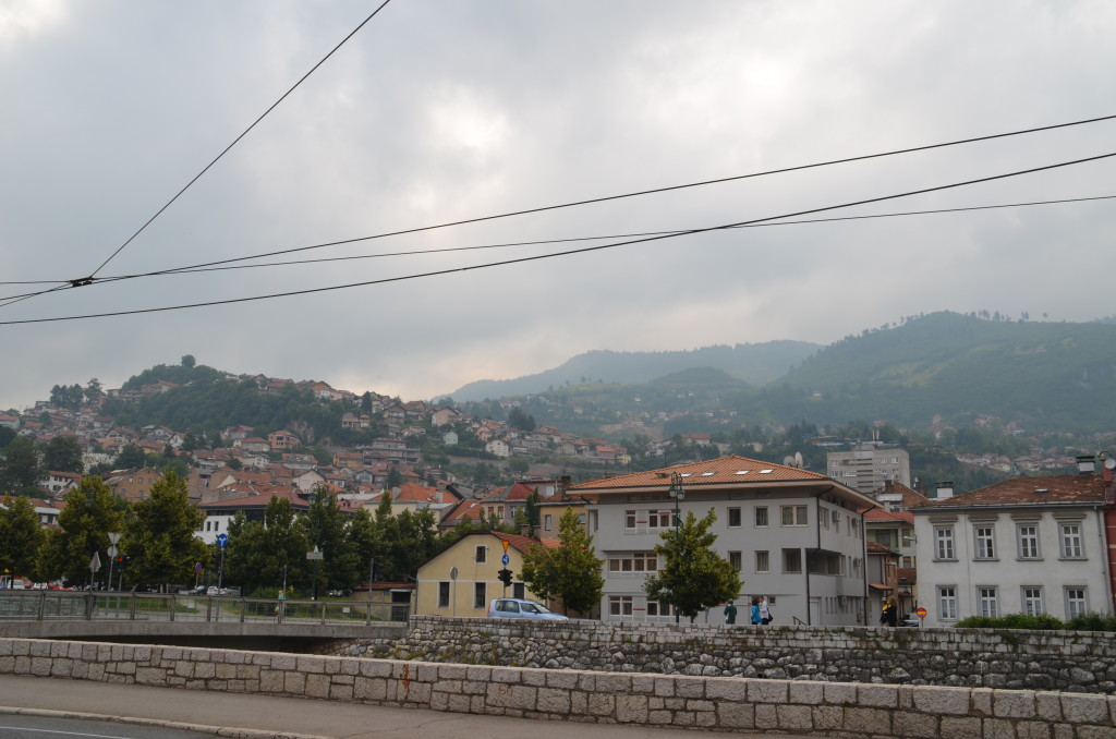 Mountains that surround Sarajevo on an overcast day