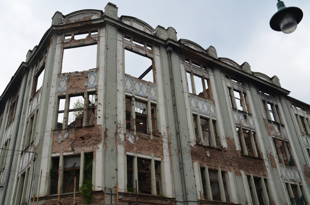 War ravaged building in Sarajevo