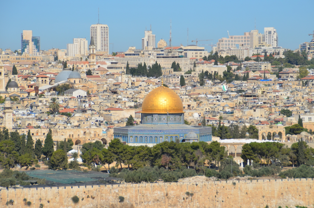 A view of Jerusalem from the Mount of Olives - the sparkling golden dome of the iconic Dome On the Rock