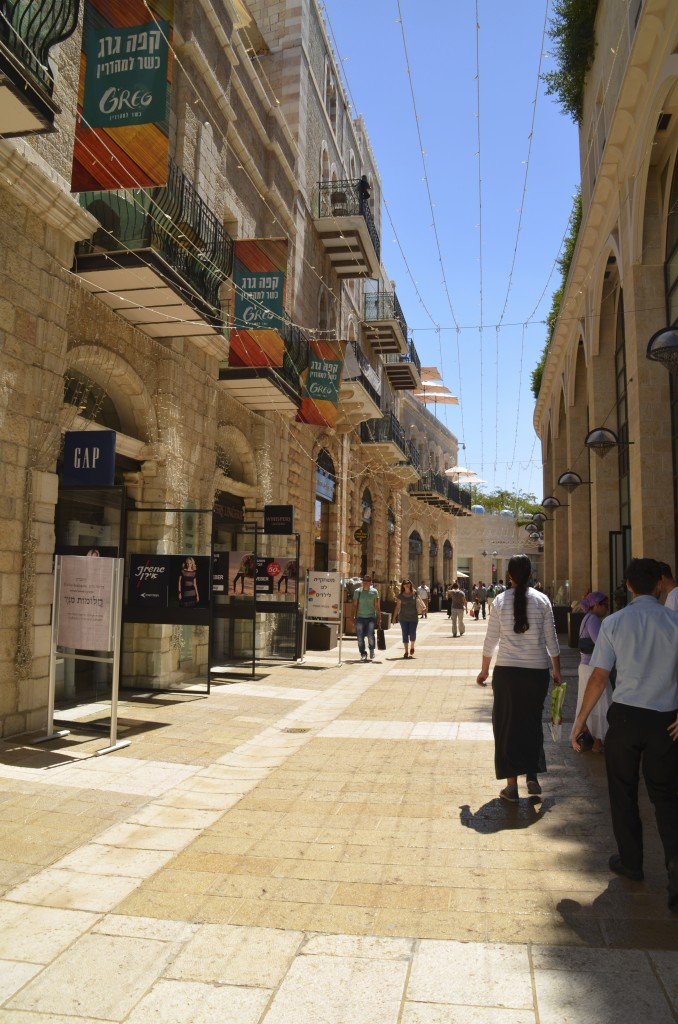 Modern day Jerusalem -An outdoor walking mall just adjacent to the old city