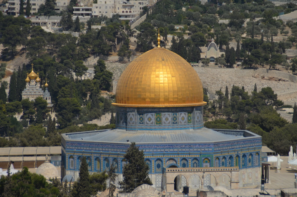 The Dome on the Rock - Muslim holy site where Muhammad ascended to heaven.  For Jews, the place where Abraham prepared to sacrifice his son, Isaac.