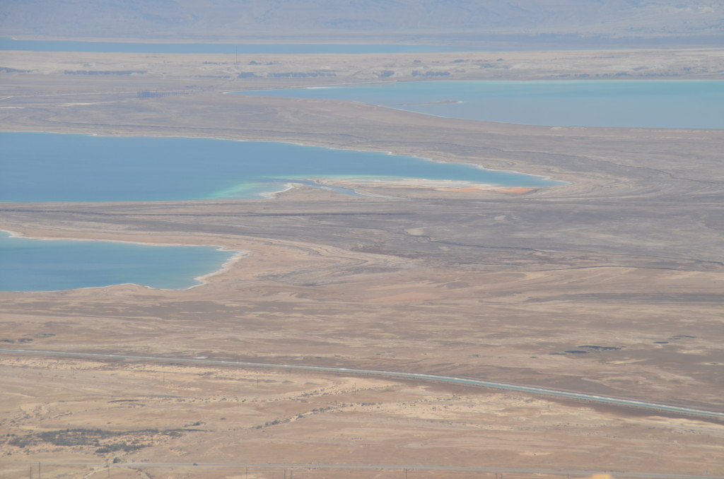 Receding water levels of the Dead Sea