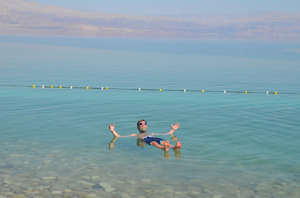 Enjoying floating in the Dead Sea