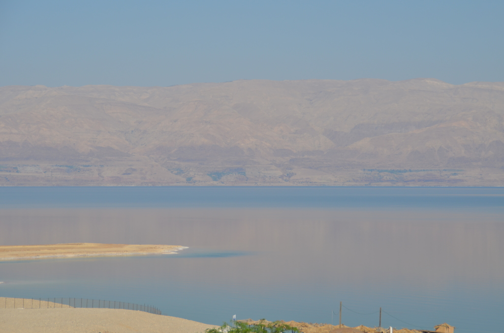 Reflection of mountains on the Jordan side of the Dead Sea
