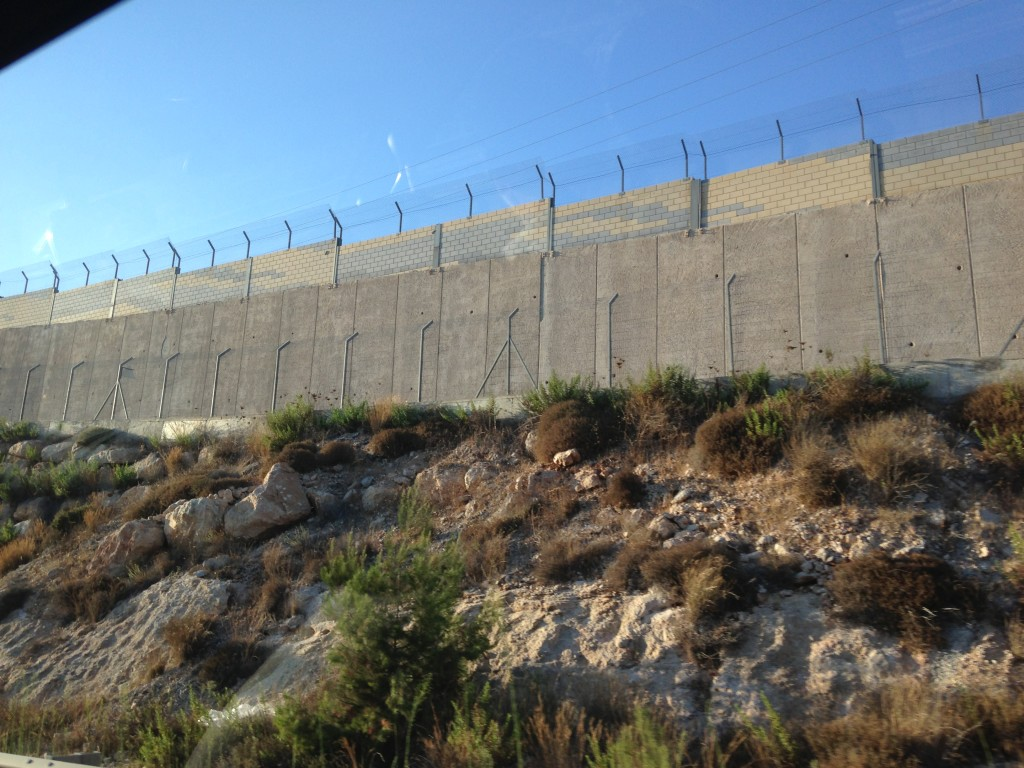 Barbed wire fence constructed by Israel