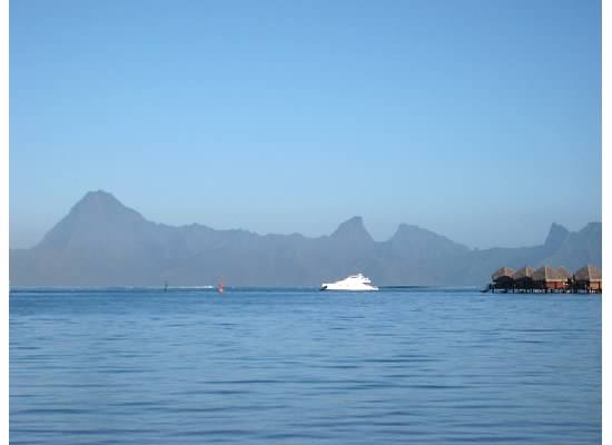 View of the shark tooth mountain tops of Moorea