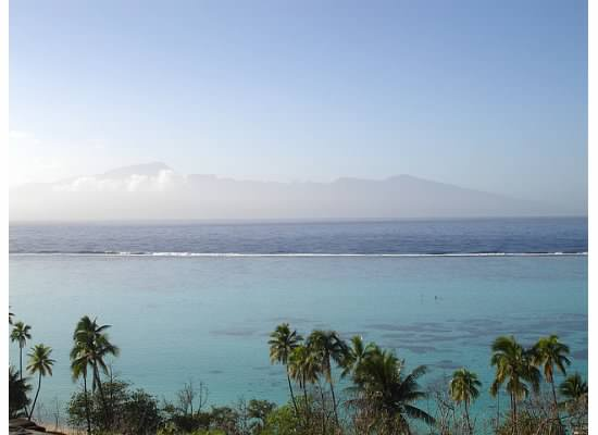 View from just above the Sofitel Moorea with Tahiti in the distance