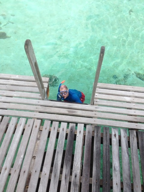 Snorkeling off the deck of the overwater bungalow