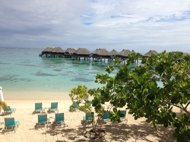 View of the lagoon and beach at the Hilton Moorea